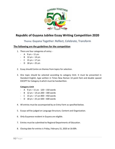 Republic of Guyana Jubilee Essay Writing Competition 2020