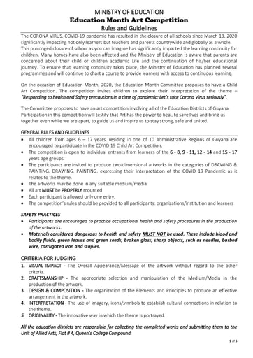 Ministry of Education - Education Month Art Competition Rules and Guidelines 2020