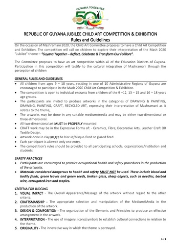 Republic of Guyana Jubilee Child Art Competition and Exhibition Rules and Guidelines 2020